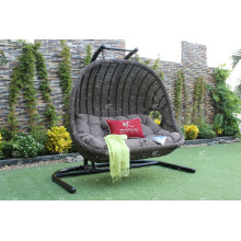 New Trendy Design Poly Rattan Double Seats Swing Chair ou Hammock para jardim ao ar livre Patio Wicker Furniture
