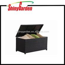 Patio de almacenamiento, caja de almacenamiento al aire libre, marco de aluminio al aire libre Ratán mimbre cojín de almacenamiento
