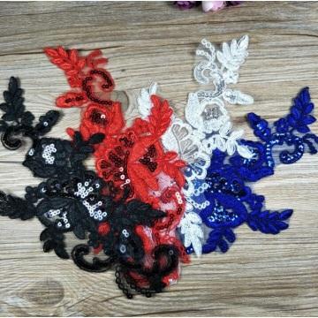 Boda de cuello bordado de encaje de flores de lentejuelas negras