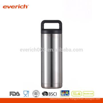 Venta al por mayor de doble pared de acero inoxidable 18 oz botella de plata