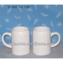 Haonai a exporté une tasse de bière en céramique de 15 oz en céramique blanche