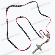 Mini colar de Rosário Cristal com Rosário, Rosário de Vidro Religioso com Pingente de Crucifixo