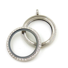 Fashion 30mm Silver Round Floating Glass Crystal Locket