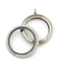 Moda 30 milímetros prata rodada de cristal flutuante Locket