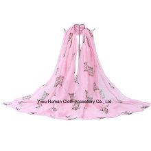 2016 Mode Katze gedruckt leichten Polyester Schal