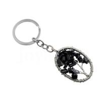 Wire Wrapped Lucky Tree Anhänger Natural Chip Schwarz Onyx Schlüsselanhänger Oval Form Halbedelstein Anhänger Anhänger Schlüsselanhänger