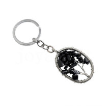 Wire wrapped Lucky tree Pendant Natural chip Black Onyx keychain Oval shape Semi precious stone Pendant key chain