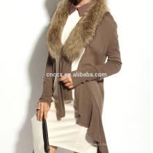 Lã de cashmere 16STC8094 knit longo aberto cardigan com gola de pele