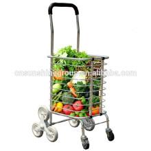 Trole de alumínio armazém, supermercado dobradura compras cesta com rodas