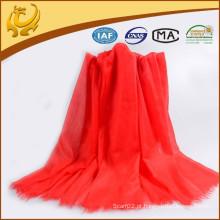 2015 Lenço de cachemira puro tecido na moda da moda vermelha para mulher