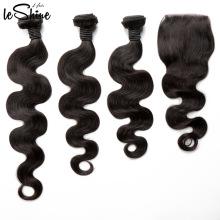 Livraison gratuite vague de corps en gros non transformés vierge vierge cuticule alignés brésiliens cheveux humains tissage du Brésil