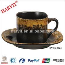 Hot Selling Black Brown Reactive Glaze Dinnerware Théière en céramique Coupe et soucoupe / Set de thé marocain / Set de thé vintage Café