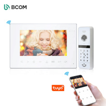 """Bcom fast delivery sonnettes vido 7"""" TFT LCD Touch button video doorphone system"""