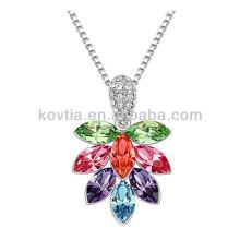 Древо жизни кулон ожерелье платина цепи ленты ожерелье цветные кристалл лист ожерелье
