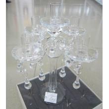 Porte-bougie en verre clair avec cinq affiches