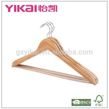 Fancy flat bamboo stick shirt hangers with round bar and PVC tube