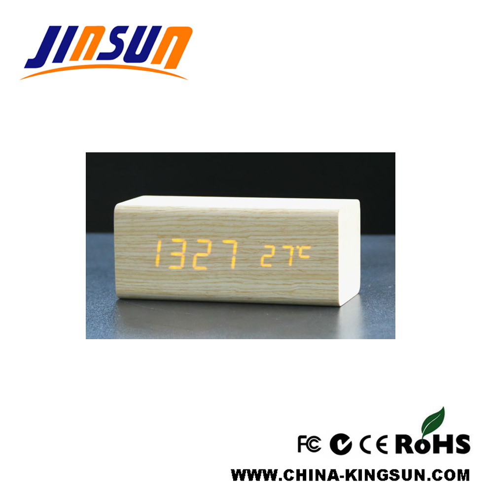 Natural Wooden Led Alarm Clock Desktop