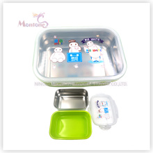PP-Silikon-Edelstahl-Lunchbox mit Schloss (800ml)