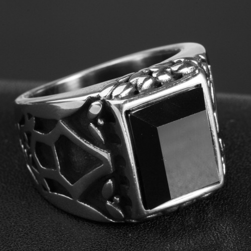 Obsidian gemstone ring