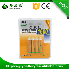 CFL high capacity Ni-mh AAA 1600mah Rechargeble Battery