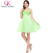 Grace Karin Five Colors Pretty Girls Nice Sleeveless Backless Beaded Nude Tulle Short Formal Cocktail Dresses 2016 CL6151-4#