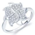 Micro Pave Einstellung Blume 925 Sterling Silber Ring Schmuck