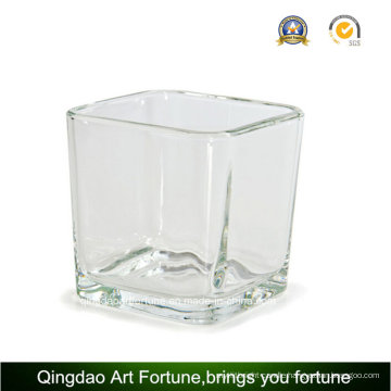 22oz Square Glass Vase Cube for Candle Jar