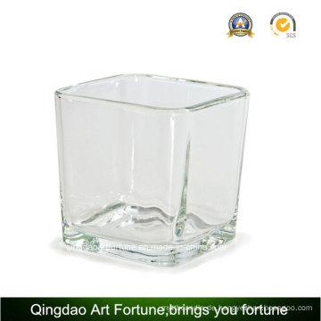 22oz quadratischer Glasvase Würfel für Kerzenglas