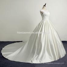 Bolso hombro satén suave satén largo remolque vestido de novia 2017