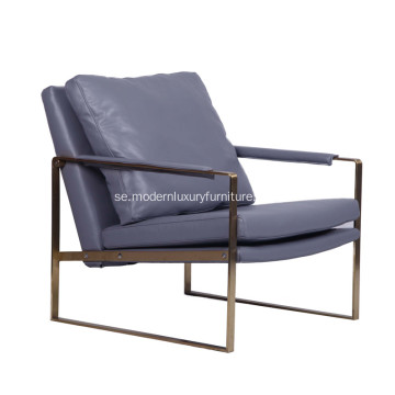 Modern Zara Stainless Steel Leather Lounge Chair