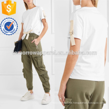 Getrimmte weiße Baumwolle-Jersey T-Shirt Herstellung Großhandel Mode Frauen Bekleidung (TA4113B)