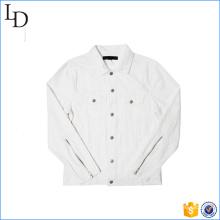 New design of zipper on sleeve denim white jeans jacket