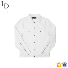 Novo design de zíper na manga denim jeans branco jaqueta