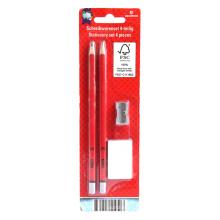 Zwei Bleistifte mit Radiergummi und Spitzer-Set
