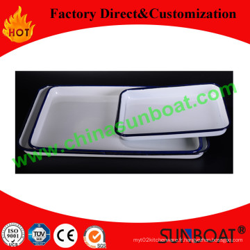 Sunboat vente chaude émail plateau/assiette rectangulaire