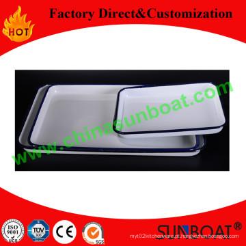 Sunboat venda quente esmalte bandeja/chapa retangular