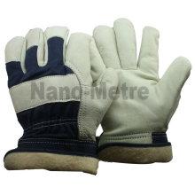 NMSAFETY Blanc Cuir de vachette avec dos en coton bleu pour gant d'hiver