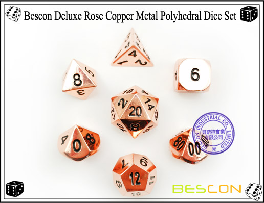 Bescon Deluxe Rose Copper Metal Polyhedral Dice Set-6