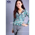 Cashmere Hoodie Cardigan with Paisley Prints