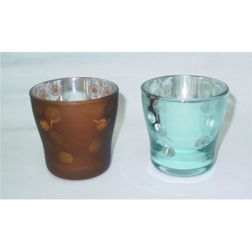 Plating Spray Colorful Glass Candle Holder for Home Decoration