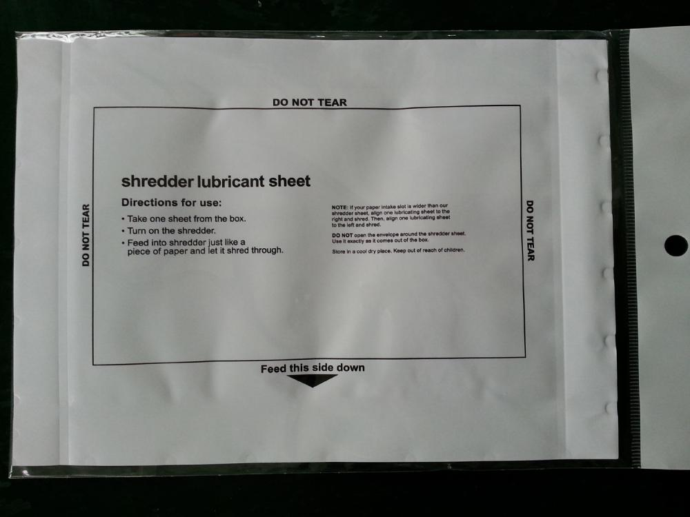 Oil Sheet for Paper Shredder