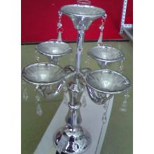Plating Silver Color Glass Candle Holder with Five Posters