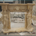 Beige Lady Statue Marble Fireplace (SY-MF006)