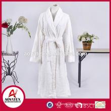 new design white flower loop cut flannel fleece bathrobe sleepwear