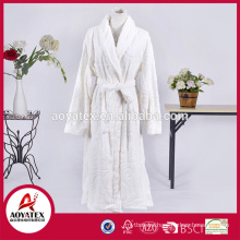new design white flower loop cut flannel fleece bathrobe sleepwear