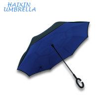Excellente matière nouveau style logo personnalisé imprimé double couche en gros parapluie pliant inverse avec Magic C poignée pour deux