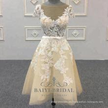 Vestido de dama de honor vestido de boda corto mini encaje corto sexy crema barato