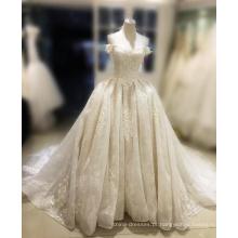 2017 vestido de noiva Pérolas querido cristal corset puffy vestido de baile vestidos de noiva baratos