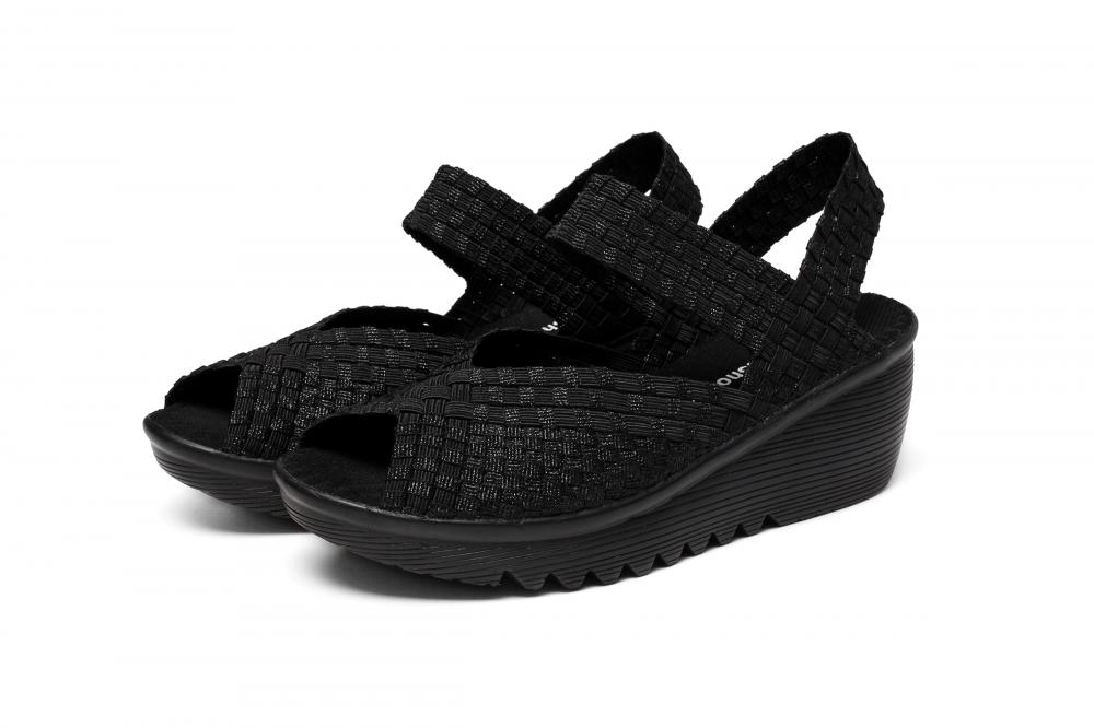 Black Color Woven Sandals