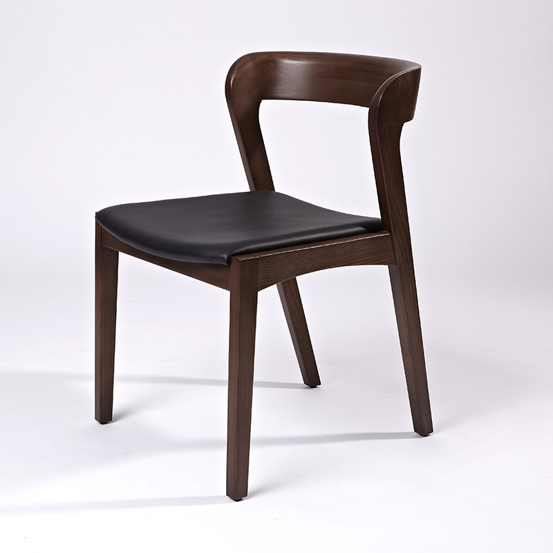 wooden leather dining chair